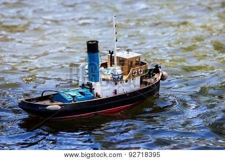Model Ship Sails On The Sea, Ocean.