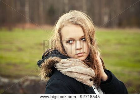 Caucasian Teenage Girl In A Spring Forest