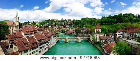 Panorama View Of Historical Old Town City Bern