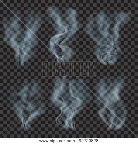 Set Of Translucent Light Blue Smoke. Transparency Only In Vector Format