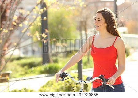 Candid Woman Walking In An Urban Park