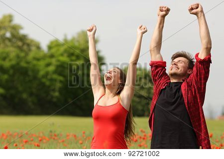 Euphoric Couple Raising Arms In The Country