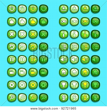 green game icons buttons icons, interface, ui