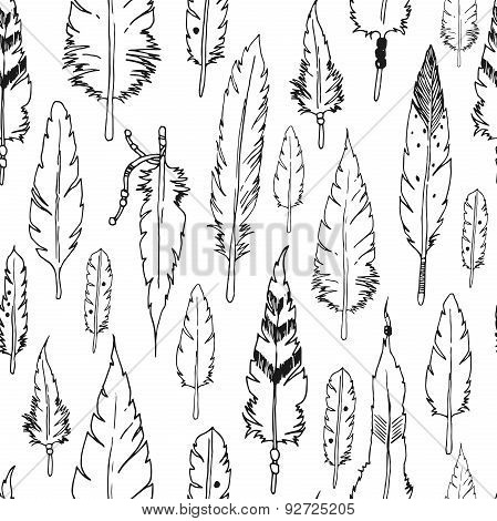 Vector feather background, retro pattern