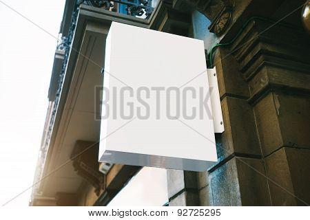Blank lightbox on the wall