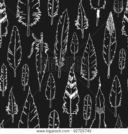 Vector feather background, tribal pattern