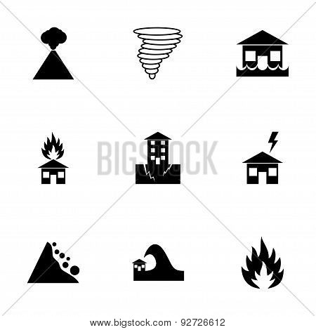 Vector black disaster icon set