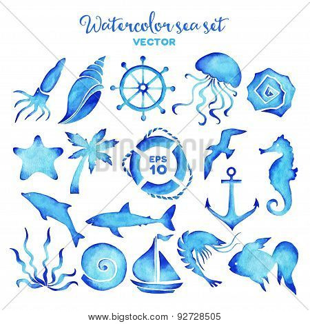 Vector watercolor sea set of design elements.