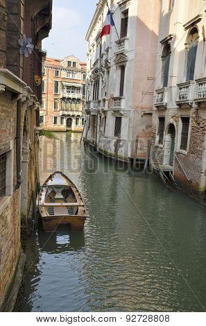 Boat On Venetian Canal