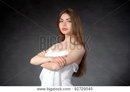 Confidence, Confidence, Closeness Concept. Woman Crossed Her Arms