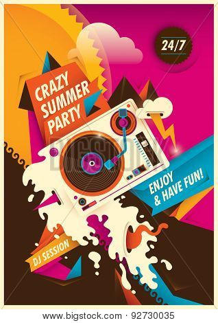 Abstract summer party poster. Vector illustration.