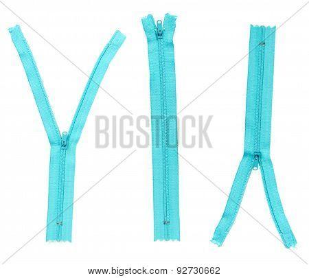 Set Of Blue Zipper