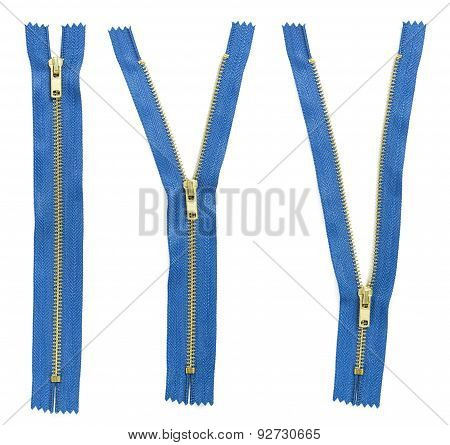 Set Of Three Blue Zipper