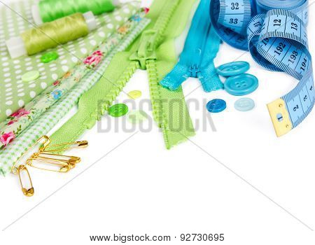Accessories For Sewing - Fabric, Pins, Zipper, Thread, Buttons And Measuring Tape