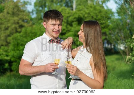 Young Couple At A Picnic In A City Park