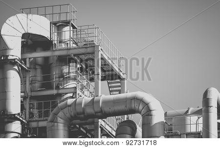Industrial view at oil refinery plant from industry zone