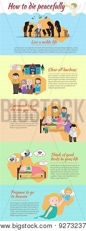 How To Die Peacefully And Go To Heaven Cartoon Infographic Template Design With Sample Text Layout,