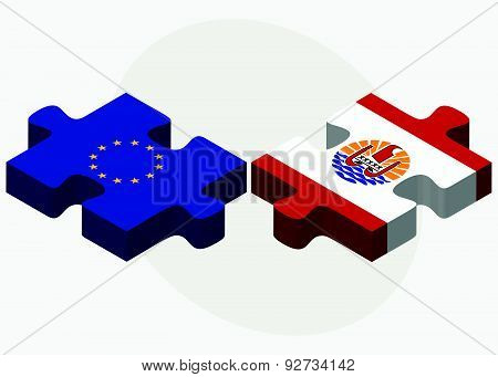 European Union And French Polynesia Flags In Puzzle Isolated On White Background
