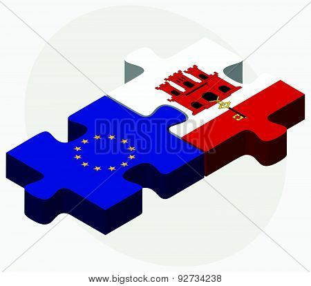 European Union And Gibraltar Flags In Puzzle Isolated On White Background