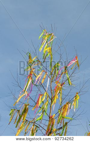 Colorful Easter fringes and maypole