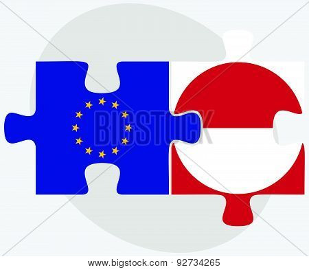 European Union And Greenland Flags In Puzzle Isolated On White Background