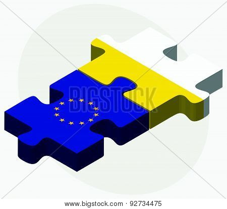 European Union And Holy See - Vatican City State Flags In Puzzle