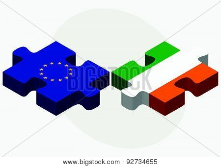 European Union And Ireland Flags In Puzzle