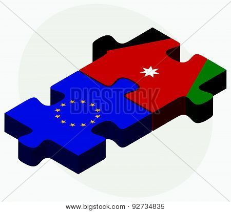 European Union And Jordan Flags In Puzzle