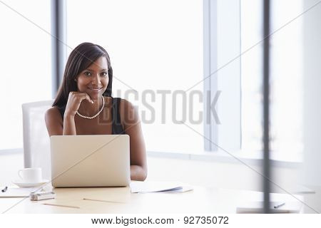 Businesswoman Working On Laptop At Boardroom Table