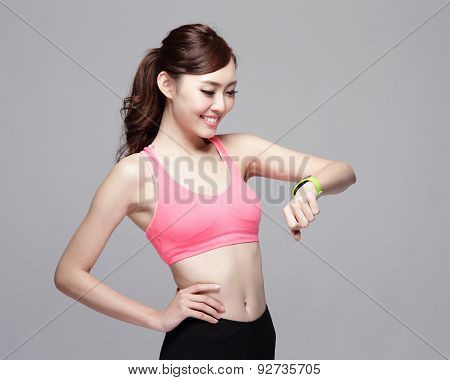 Sport Woman Wearing Smart Watch