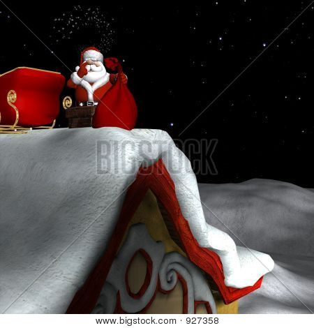 Santa Going Down Chimney 1