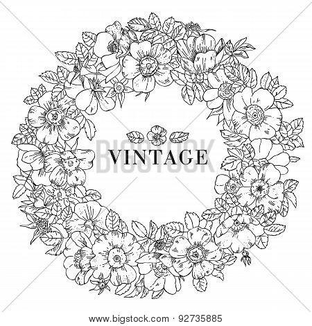 Lovely romantic hand drawn floral wreath made in vector