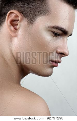 Male Model With Drops On Face