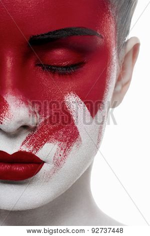 Beauty Female Model With Closed Eyes And Blood On Face
