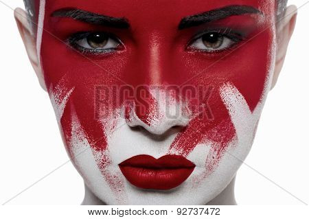 Girl With Red Lips And Blood On Face