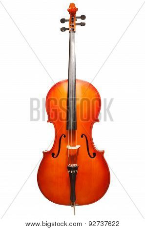 Violoncello standing on the white background