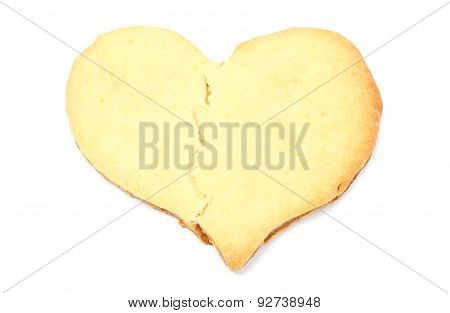 Valentine Broken Heart Of Yeast Cake On White Background