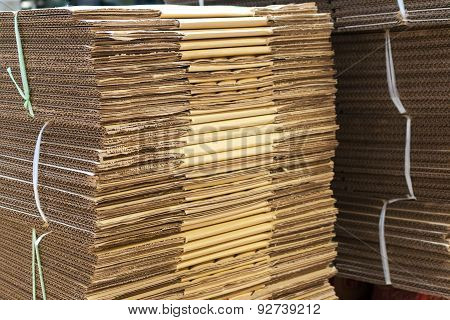 Stacked Brown Corrugated Cardboard Boxes