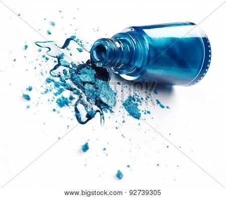 Blue Nail Polish With Crushed Eye Shadow