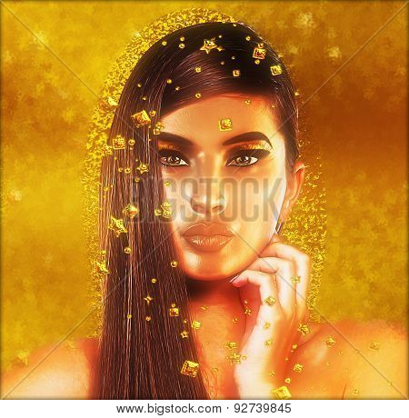 Gold glitter and foil fall around this girl with long brunette hair.