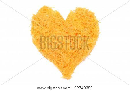 Heart Shaped Grated Carrots On White Background