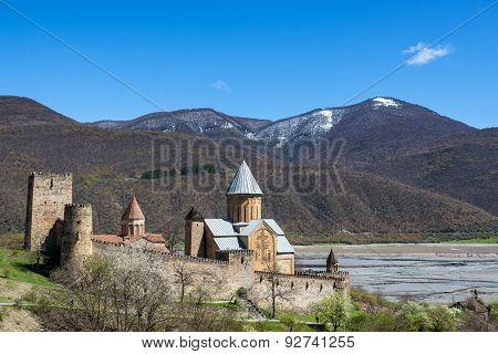 Ananuri, Georgia - April 25, 2015: Medieval Ananuri Castle over Aragvi River