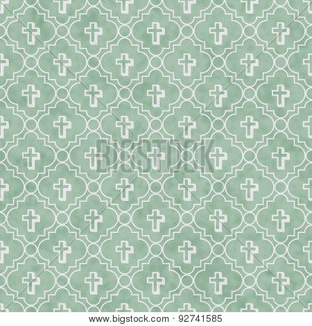 Pale Green And White Cross Symbol Tile Pattern Repeat Background