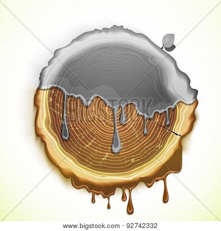 Vector Drawing Tree Cut Ecology Concept