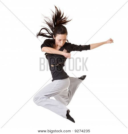 Modern Cool Woman Jumping