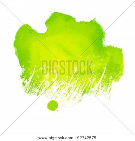 Watercolor Green Splash With Hand Drawing Grass