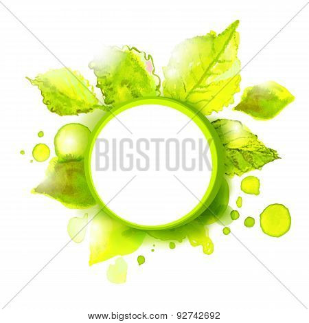 Vector Circle With Green Summer Leaves