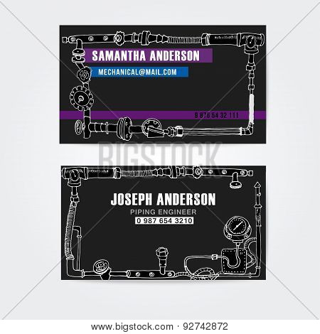 Steampunk style business cards design, steampunk background.