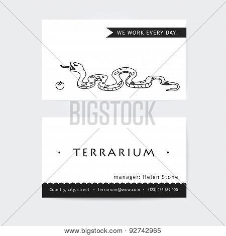 Business cards vector design for pet store, terrarium