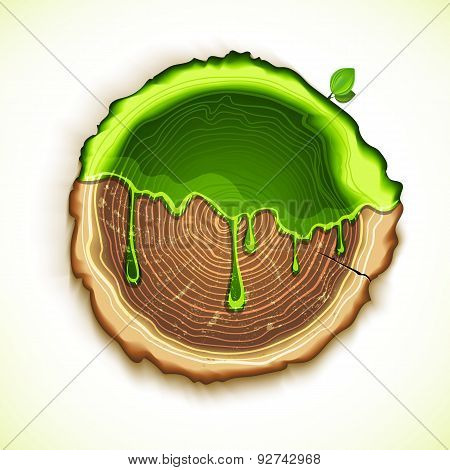 Vector Drawing Tree Cut With Green Gel Concept